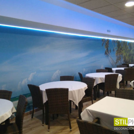 Mural paradisíaco para restaurante